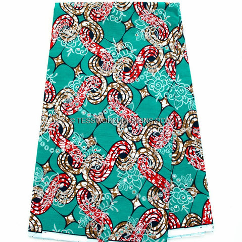 WP814 - Teal Metallic embroidered African wax print, 6 yards - Tess World Designs  - 1