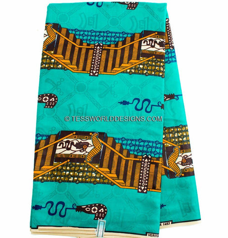 SB152 - Bazin riche fabric, Teal/Orange 6 yards - Tess World Designs