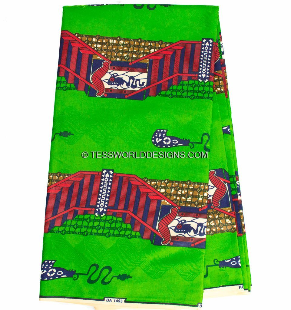 SB153 - Bazin riche fabric, Green/Red 6 yards - Tess World Designs