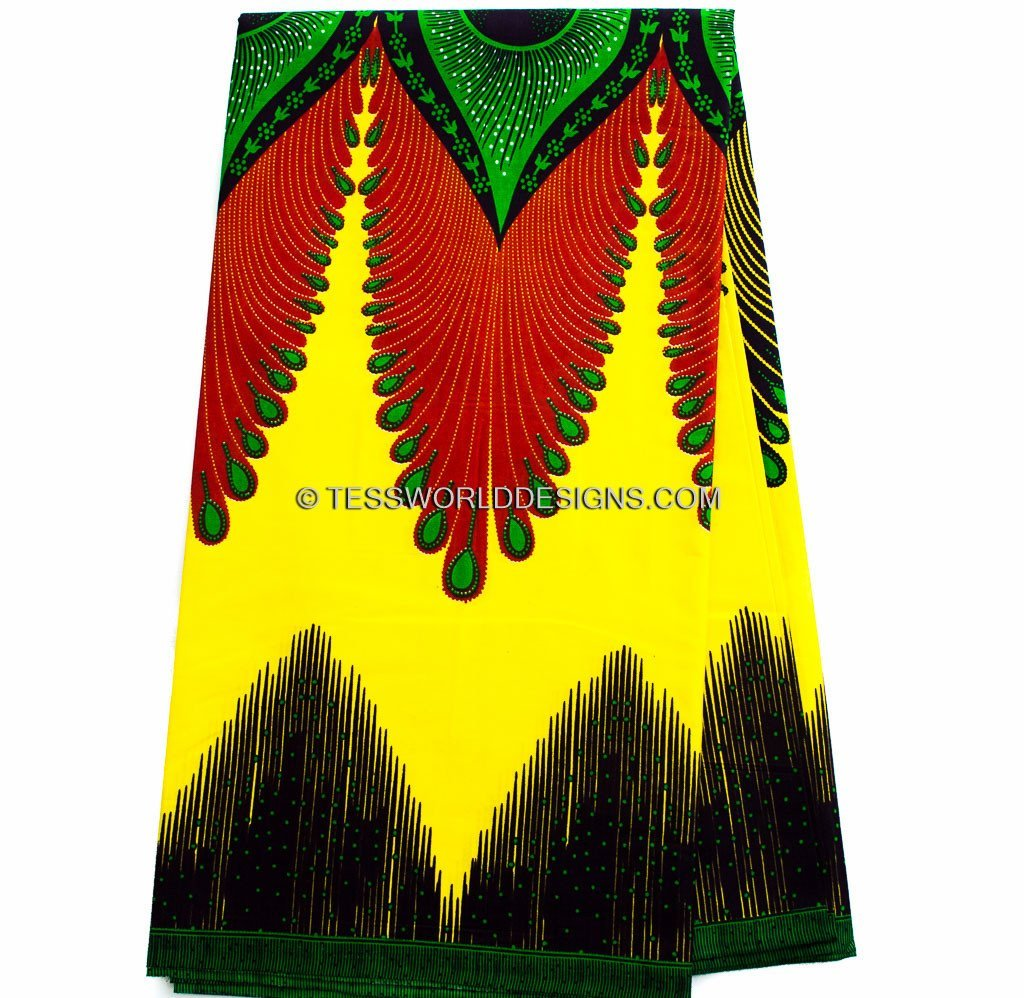 WP847 - Plume Ankara African Fabric , Yellow, green, red 6 yards - Tess World Designs