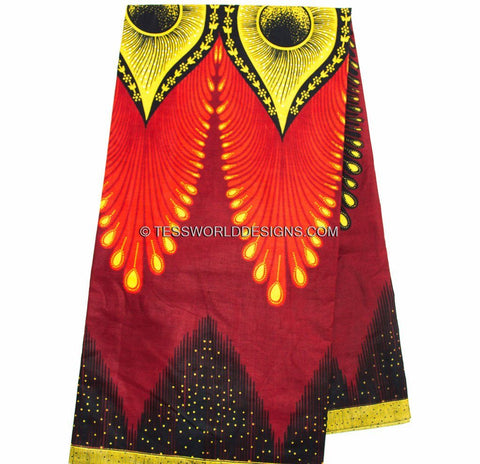 WP849 -Crimson quality Ankara African Fabric , eye 6 yards - Tess World Designs