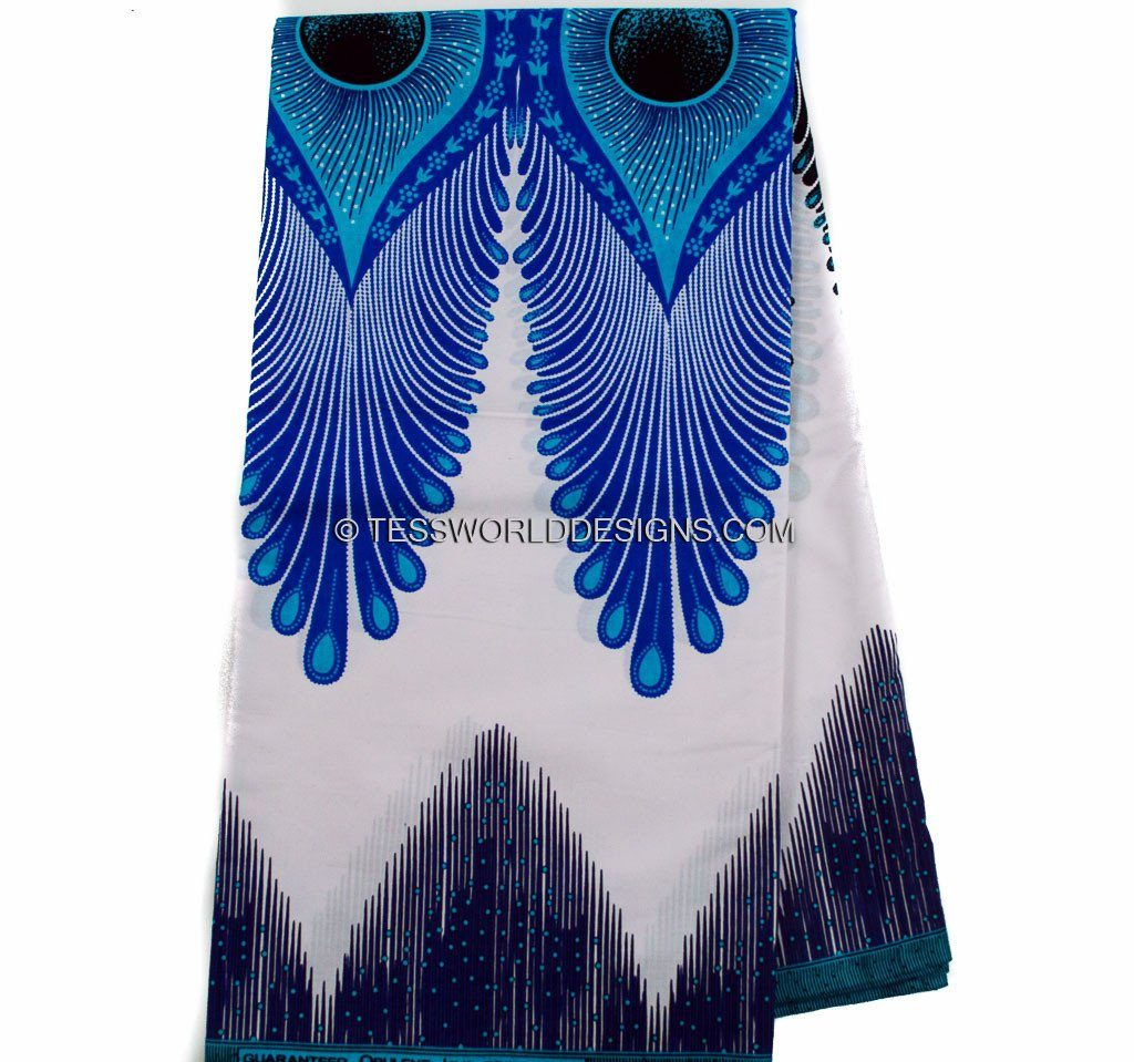 WP861 -Best Ankara African Fabric blue/white plume - 6 yards ...