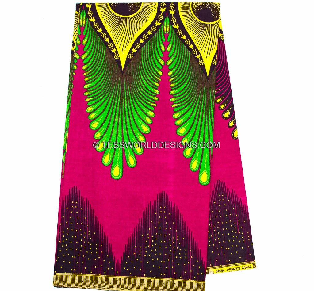 WP863 - Fuchsia/Yellow Plume Ankara African Fabric , 6 yards - Tess World Designs