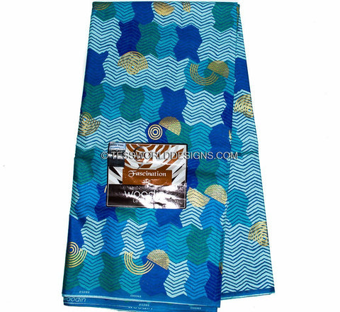 W18 -AUTHENTIC WOODIN FABRIC / Made in Ghana/Blue , 6 yards - Tess World Designs  - 1