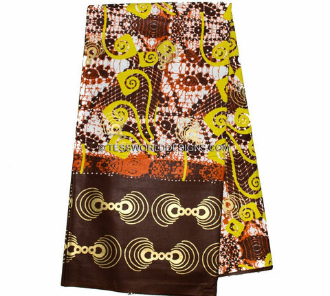 W20- AUTHENTIC WOODIN FABRIC , Made in Ghana / brown , 6 yards - Tess World Designs