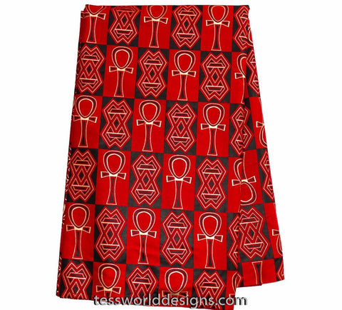 TP55 -  African Gold Metallic fabric from Africa , Red Ankh , 6 yards - Tess World Designs