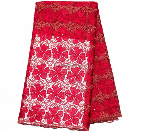 GL43 - Red Guipure Cord Lace fabric with stones, 5 yards - Tess World Designs