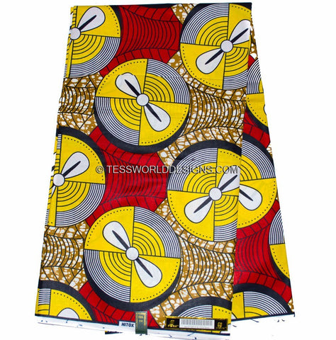 WP794 - African ankara Fabric, red and yellow, 6 yards - Tess World Designs