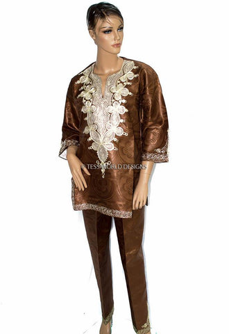 WD06 - Women's Brown Shada Pant Suit - Tess World Designs