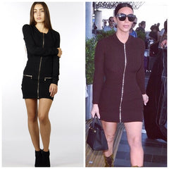 front zipper sweater dress