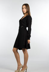 sweater wrap dress in black