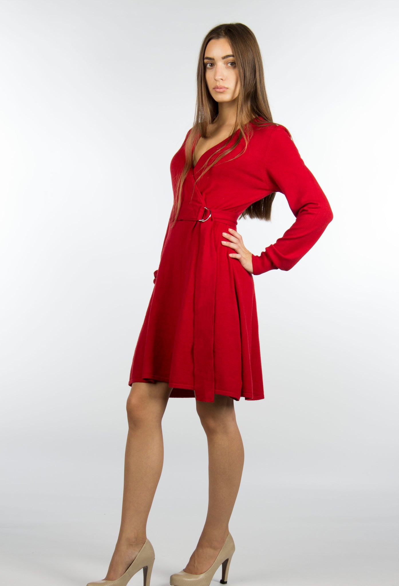 low price red winter sweater dress