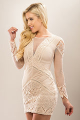 laceand fishnet beige dress