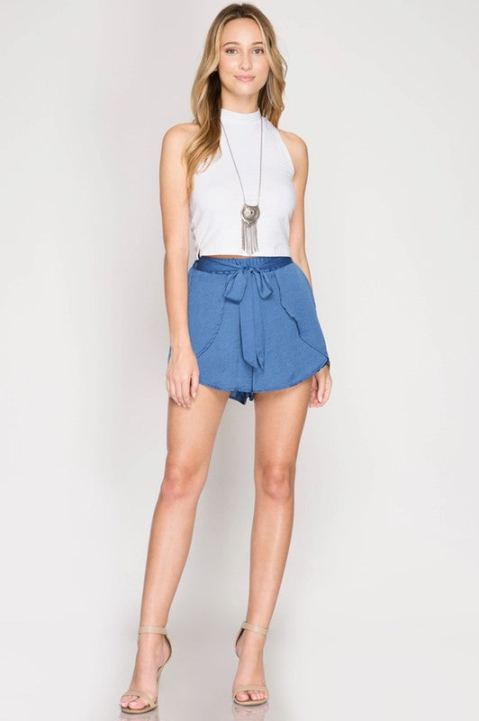 blue silk wrap front shorts