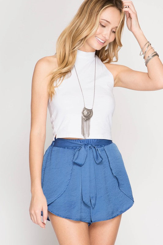 blue silk front wrap shorts