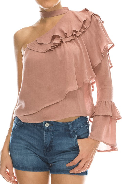 asymetric off the shoulder top with ruffles