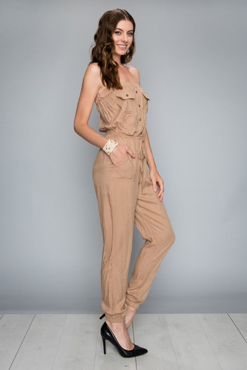 tan strapless pant jumper
