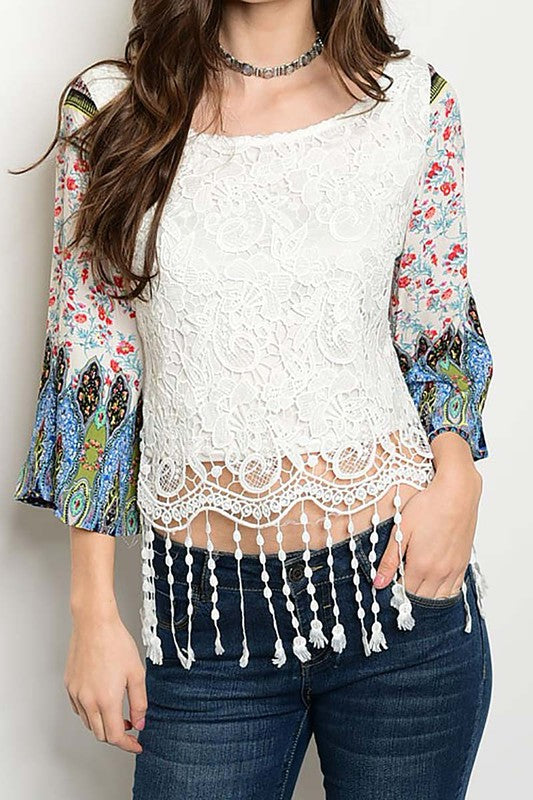 cute printed sleeve ladies top with fringes