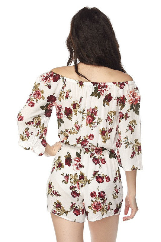 Floral Romper Off The Shoulder-203