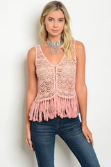 Dark Rose Crochet Fringe Top-720