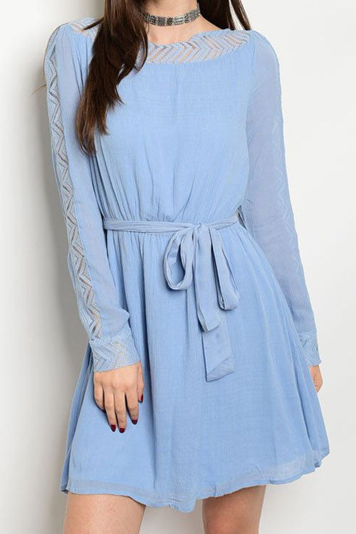 Sky Blue Curved Waist Belted Dress
