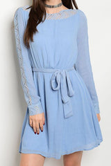 Sky Blue Curved Waist Belted Dress-315