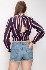 Vertical Stripe Navy Blouse