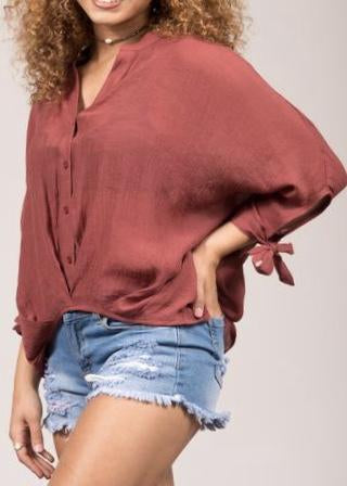 Marsala High Low Cut Blouse