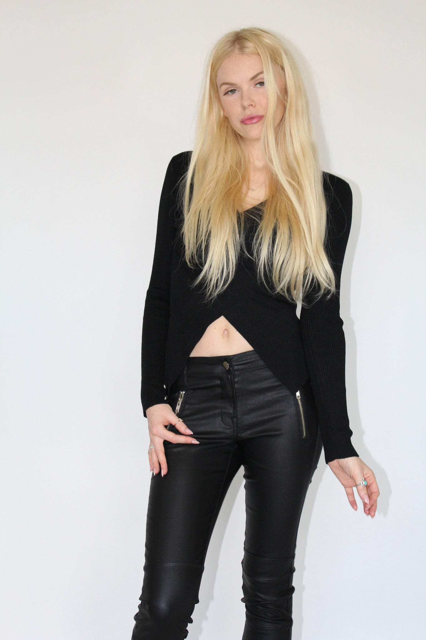 Leather Look Coated Cotton Pants