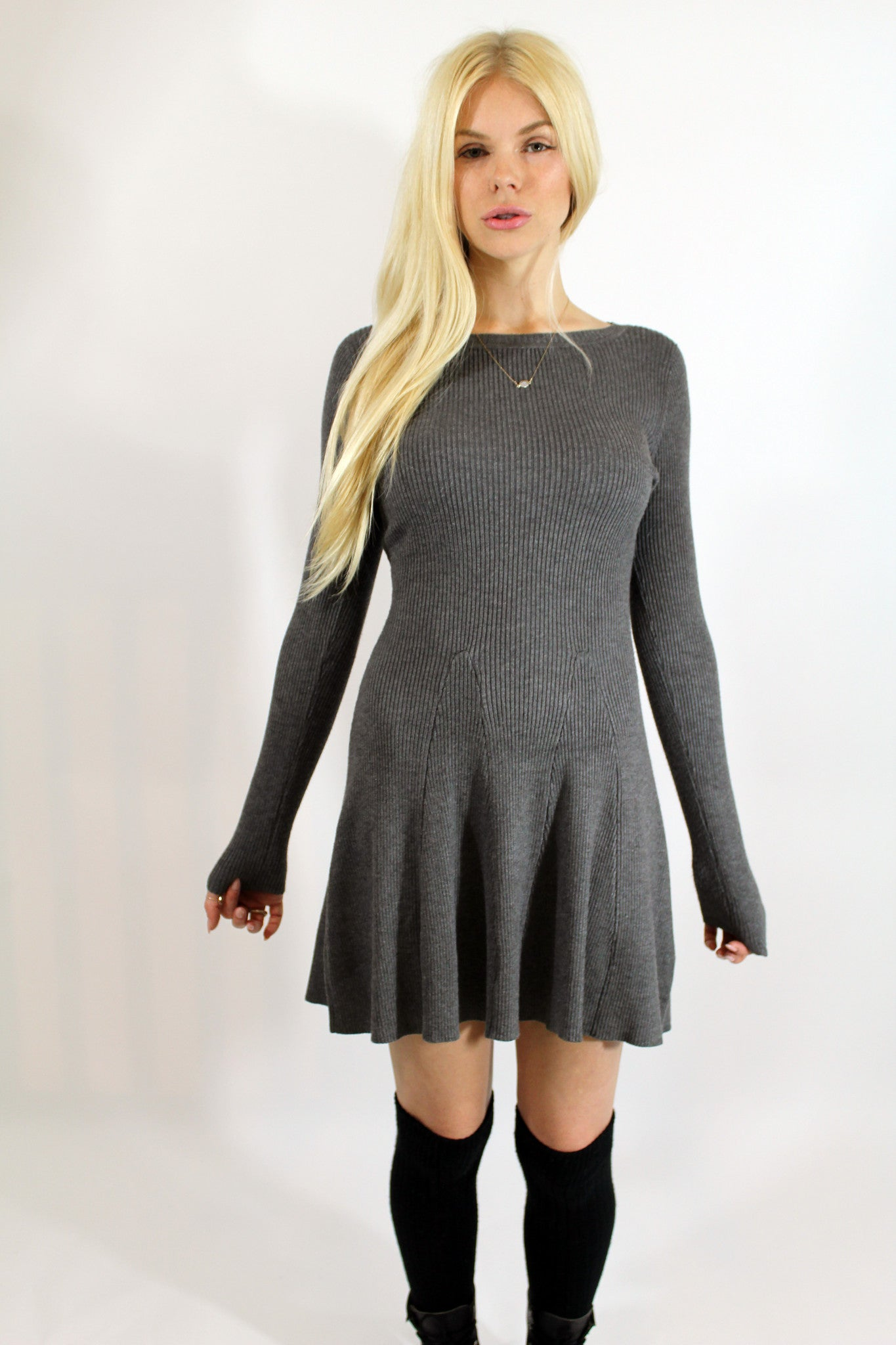 Grey Ribbed Fit and Flair Dress-333