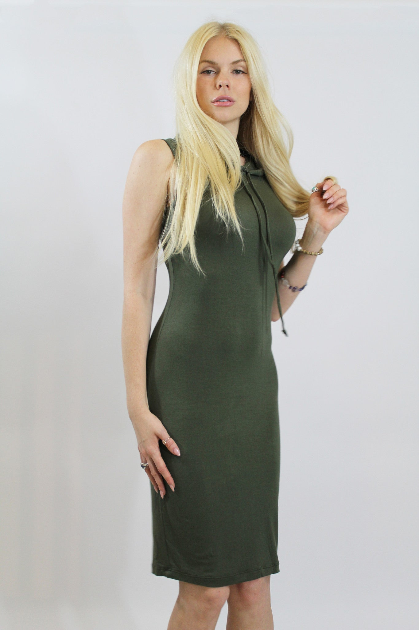 Olive Hoodie Sleeveless Dress-309