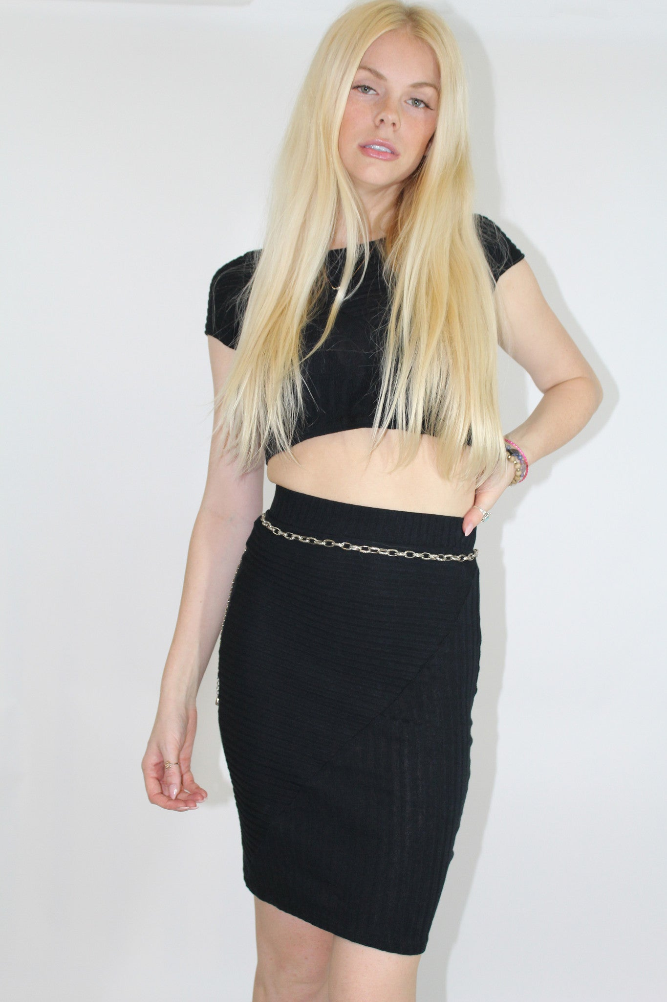 Black Ribbed Set Skirt and Crop Top-410