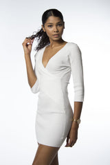 bodycon wrap white dress