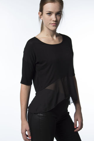 black top with lower sheer panel
