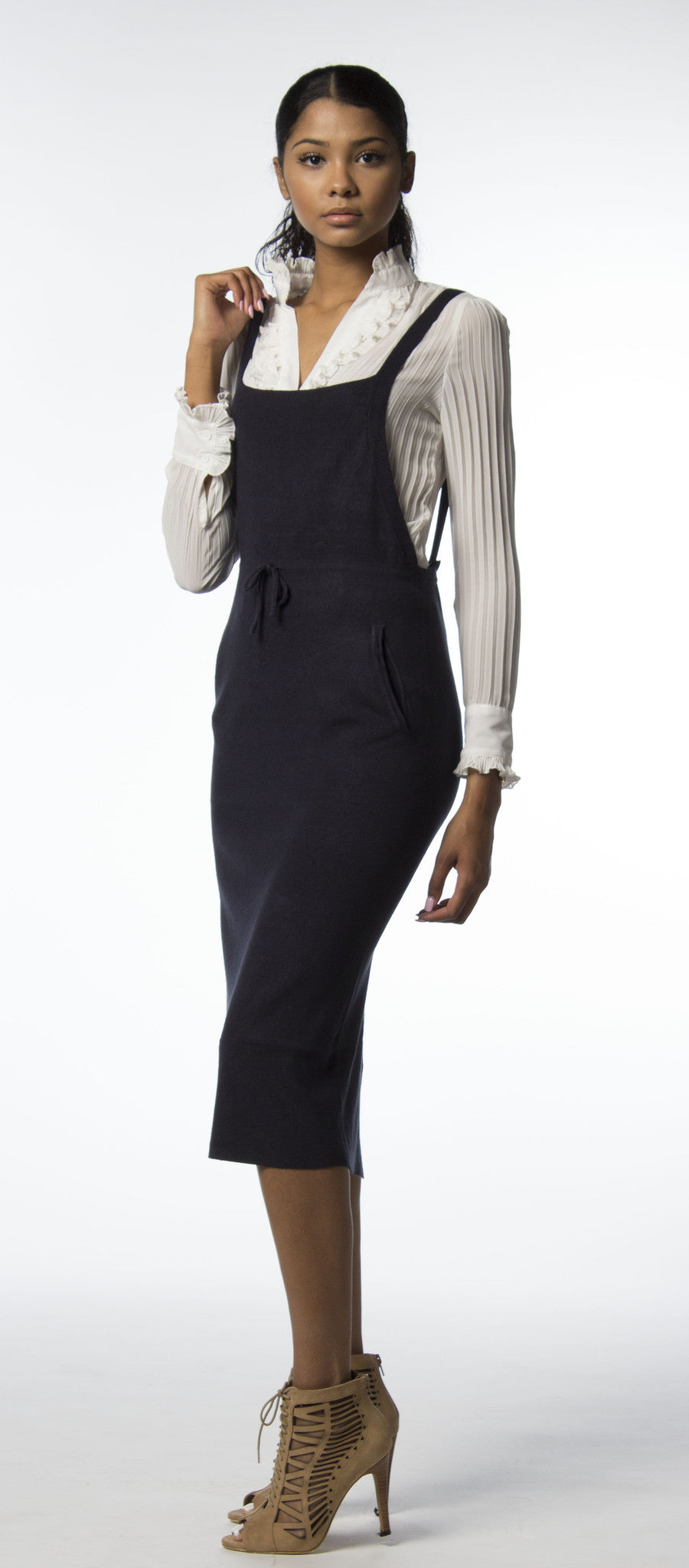 Navy Overall Cashmere Dress-345