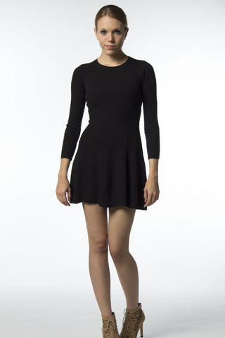 Black Fit and Flair Skater Sweater Dress