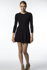 black flare sweater dress