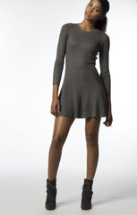 Grey dress with long sleeve and bottom flare
