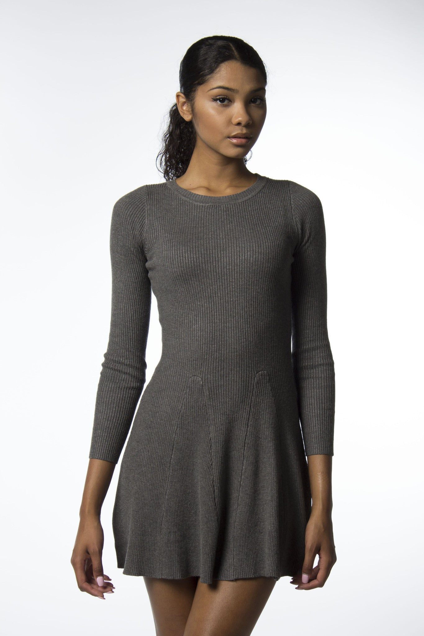 grey sweater dress with flare at bottom