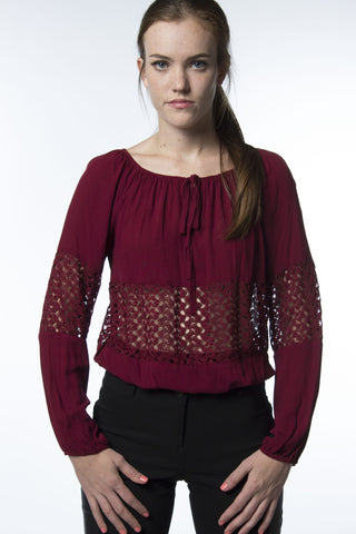 Burgundy Red Blouse Lace Midriff