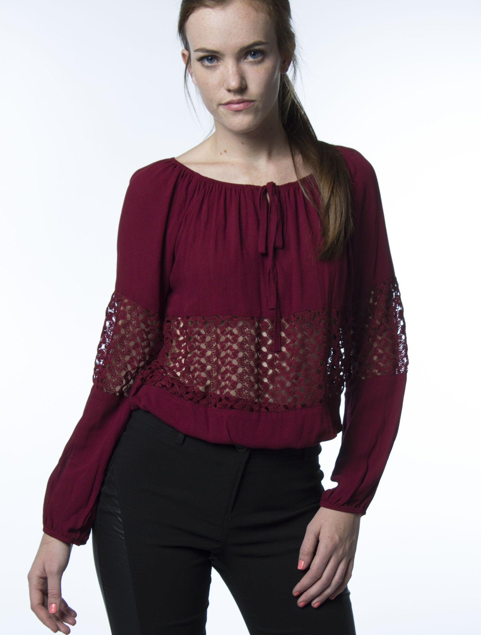 long sleeve burgundy wine top