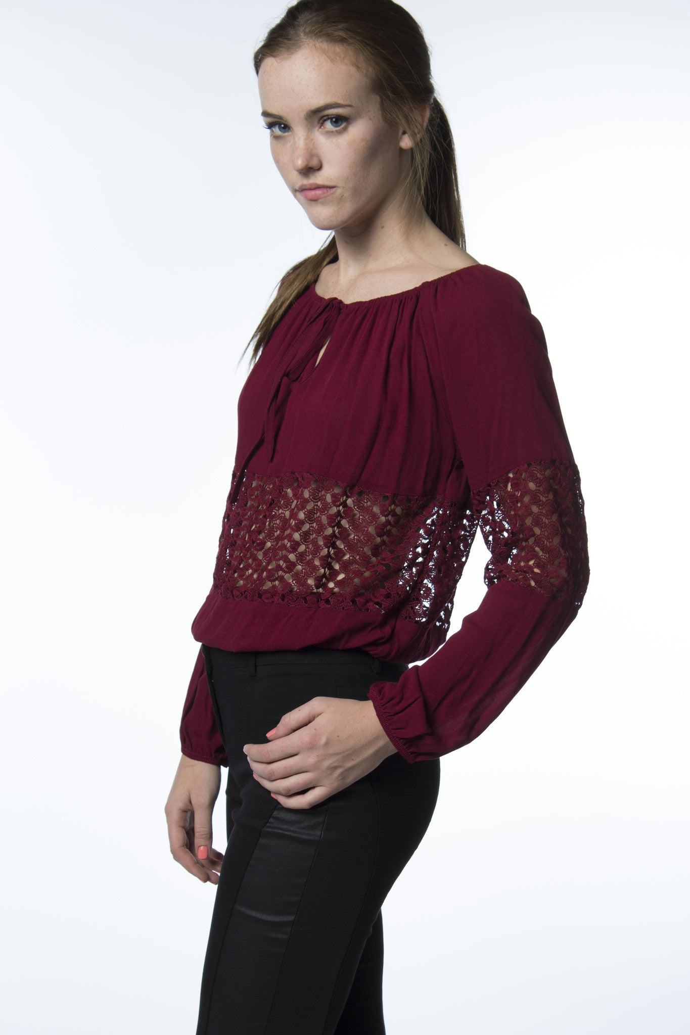 wine colored laced panel top