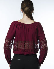 maroon laced panel long sleeve top