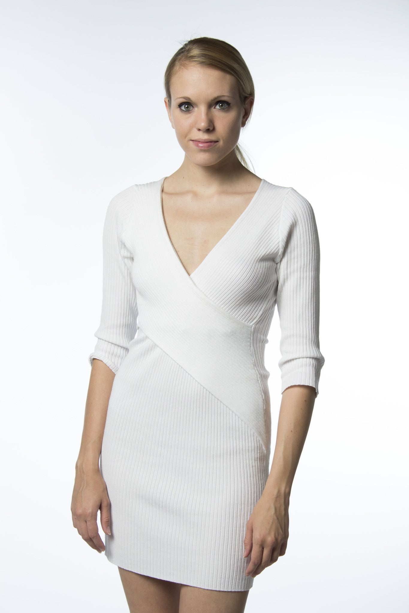 bodycon white ribbed cotton wrap front dress