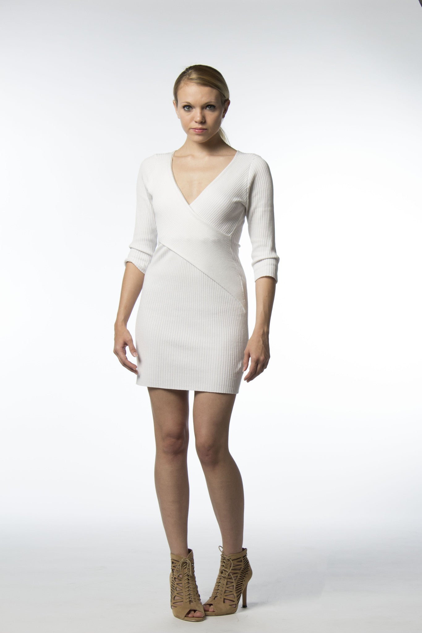 White ribbed cotton wrap dress