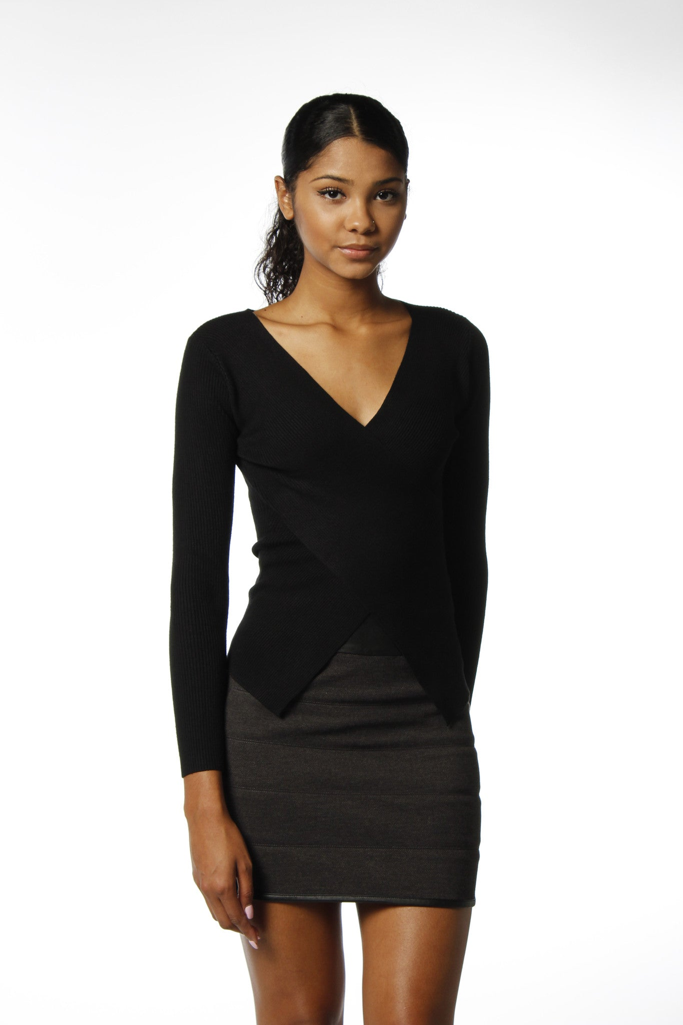 Black Sweater V-Neck Faux Wrap Front-733