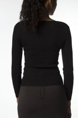 Black long sleeve sweater with cross front