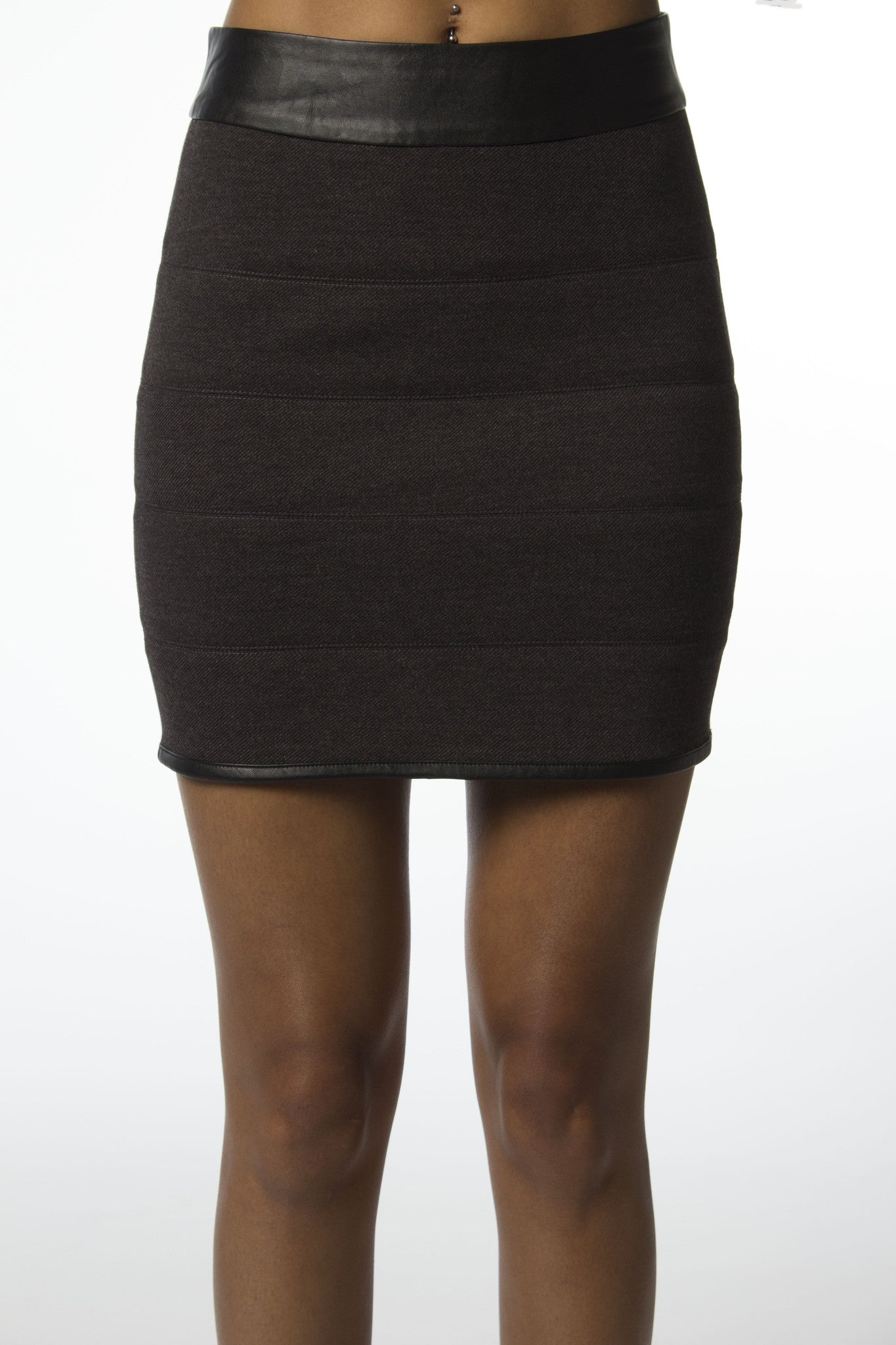 Tweed Leather Trim Skirt-601
