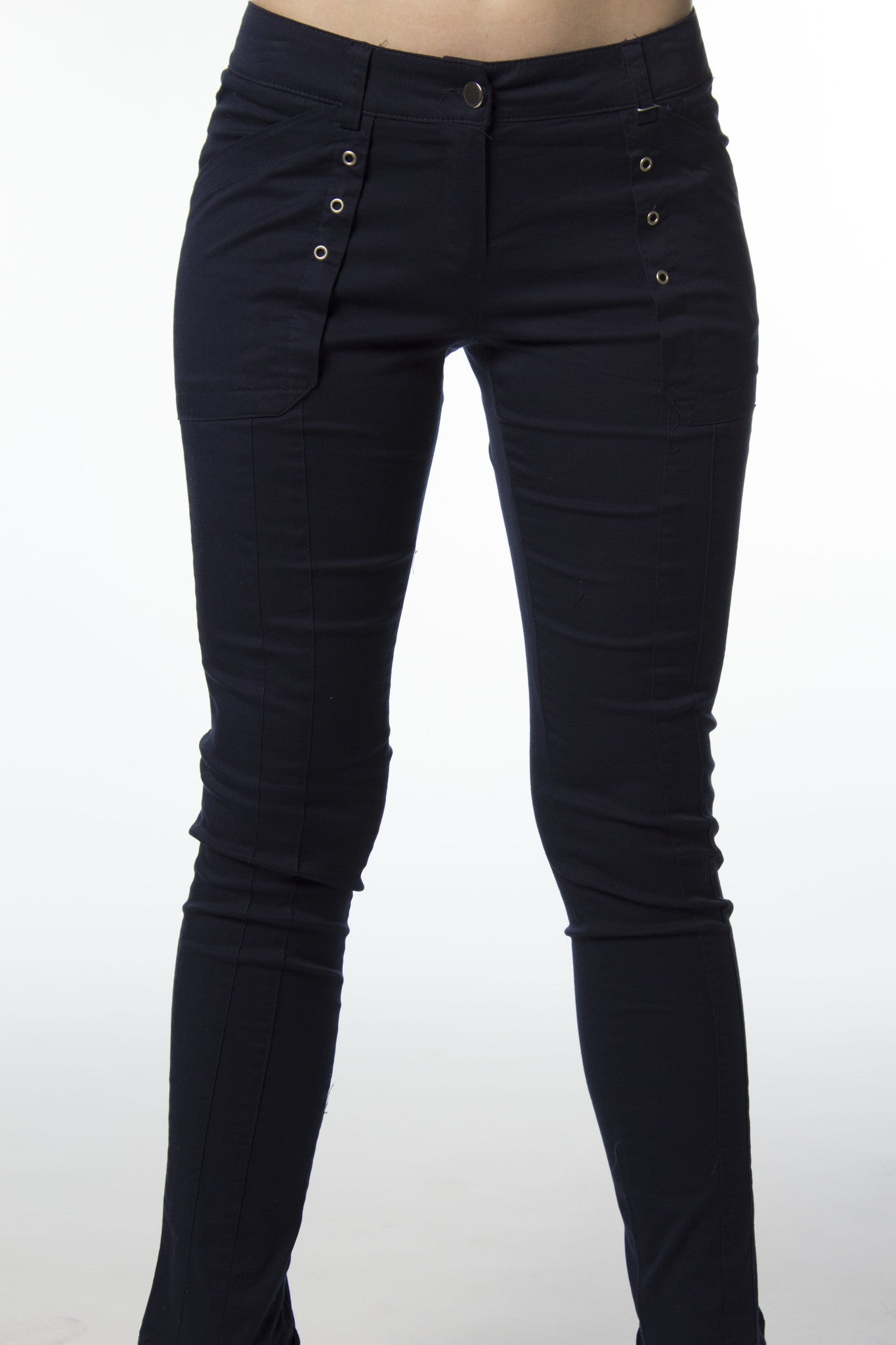 Navy blue cotton skinny fit pants
