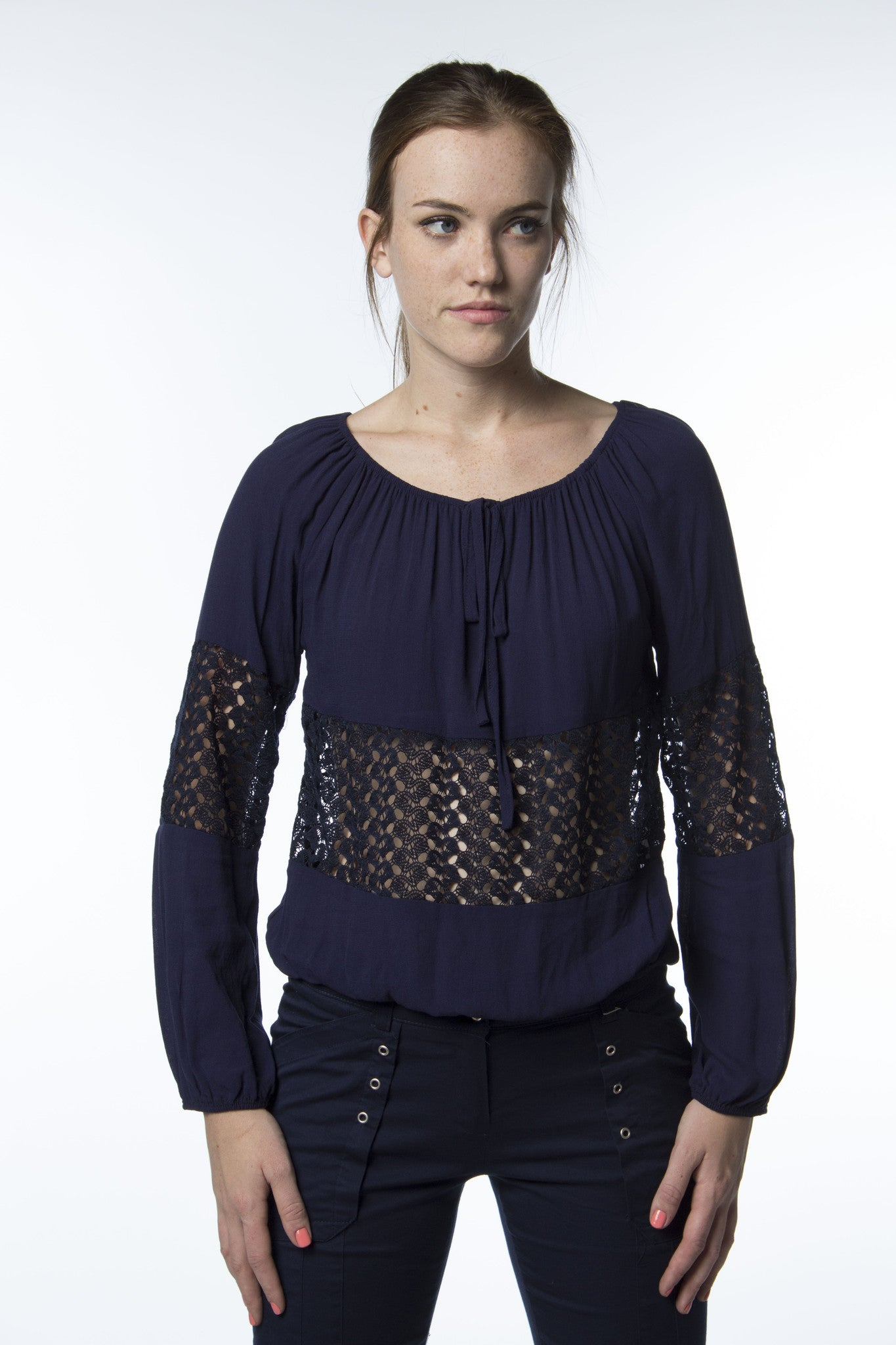 navy blue top with see through lace panels